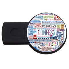 Book Collage Based On Confess Usb Flash Drive Round (4 Gb)