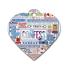 Book Collage Based On Confess Dog Tag Heart (one Side)
