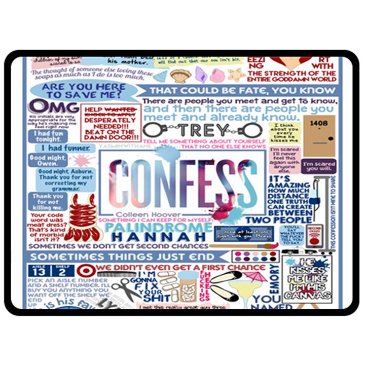Book Collage Based On Confess Double Sided Fleece Blanket (Large)