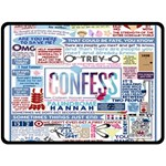 Book Collage Based On Confess Double Sided Fleece Blanket (Large)  80 x60 Blanket Back