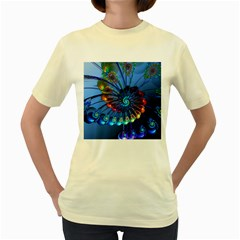 Top Peacock Feathers Women s Yellow T Shirt