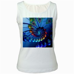 Top Peacock Feathers Women s White Tank Top