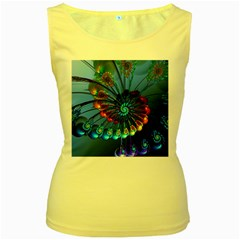 Top Peacock Feathers Women s Yellow Tank Top