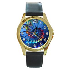 Top Peacock Feathers Round Gold Metal Watch