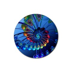 Top Peacock Feathers Rubber Round Coaster (4 Pack)