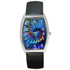Top Peacock Feathers Barrel Style Metal Watch