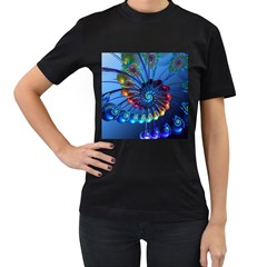 Top Peacock Feathers Women s T Shirt (black) (two Sided)