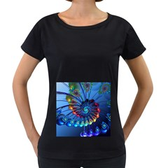 Top Peacock Feathers Women s Loose Fit T Shirt (black)