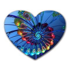 Top Peacock Feathers Heart Mousepads