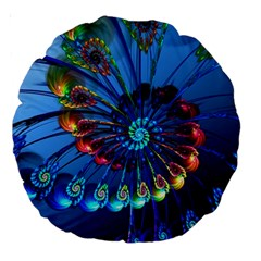 Top Peacock Feathers Large 18  Premium Round Cushions