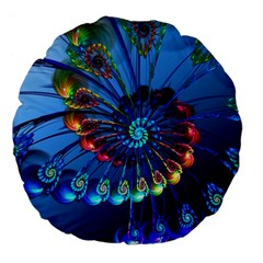 Top Peacock Feathers Large 18  Premium Flano Round Cushions