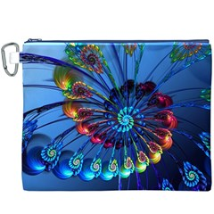 Top Peacock Feathers Canvas Cosmetic Bag (xxxl)