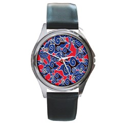 Batik Background Vector Round Metal Watch