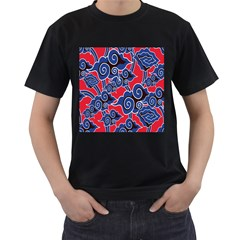 Batik Background Vector Men s T Shirt (black) (two Sided)