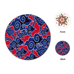 Batik Background Vector Playing Cards (round)