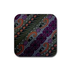 Batik Art Pattern  Rubber Square Coaster (4 Pack)