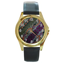 Batik Art Pattern  Round Gold Metal Watch