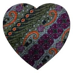Batik Art Pattern  Jigsaw Puzzle (heart)