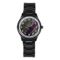 Batik Art Pattern  Stainless Steel Round Watch