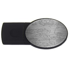 Embossed Rose Pattern Usb Flash Drive Oval (2 Gb)
