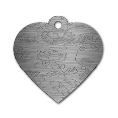 Embossed Rose Pattern Dog Tag Heart (two Sides)