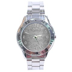Embossed Rose Pattern Stainless Steel Analogue Watch