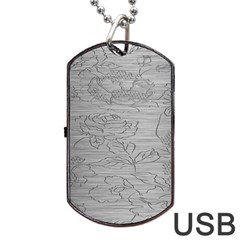 Embossed Rose Pattern Dog Tag Usb Flash (two Sides)
