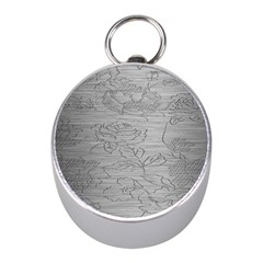 Embossed Rose Pattern Mini Silver Compasses