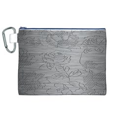 Embossed Rose Pattern Canvas Cosmetic Bag (xl)