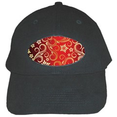 Golden Swirls Floral Pattern Black Cap