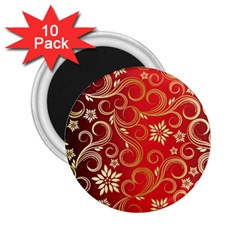 Golden Swirls Floral Pattern 2 25  Magnets (10 Pack)