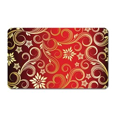 Golden Swirls Floral Pattern Magnet (rectangular)