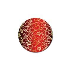 Golden Swirls Floral Pattern Golf Ball Marker