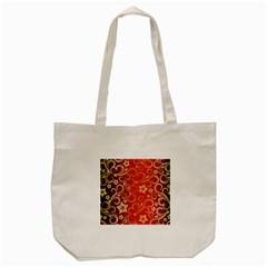 Golden Swirls Floral Pattern Tote Bag (cream)