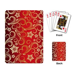 Golden Swirls Floral Pattern Playing Card