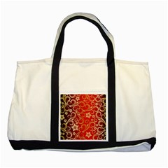 Golden Swirls Floral Pattern Two Tone Tote Bag