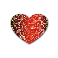Golden Swirls Floral Pattern Rubber Coaster (heart)