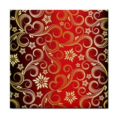 Golden Swirls Floral Pattern Face Towel