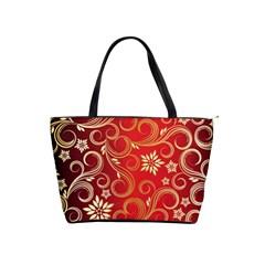 Golden Swirls Floral Pattern Shoulder Handbags