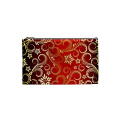 Golden Swirls Floral Pattern Cosmetic Bag (small)