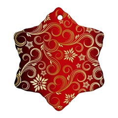 Golden Swirls Floral Pattern Snowflake Ornament (two Sides)
