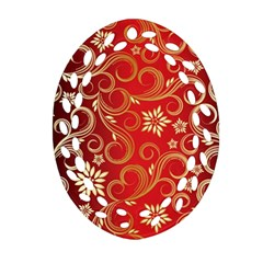 Golden Swirls Floral Pattern Ornament (oval Filigree)