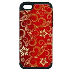 Golden Swirls Floral Pattern Apple Iphone 5 Hardshell Case (pc+silicone)