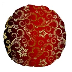 Golden Swirls Floral Pattern Large 18  Premium Round Cushions