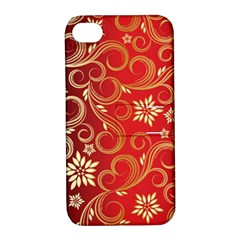 Golden Swirls Floral Pattern Apple Iphone 4/4s Hardshell Case With Stand