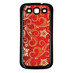 Golden Swirls Floral Pattern Samsung Galaxy S3 Back Case (black)