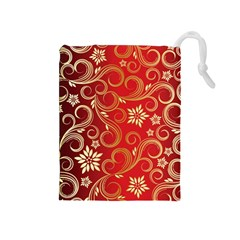 Golden Swirls Floral Pattern Drawstring Pouches (medium)
