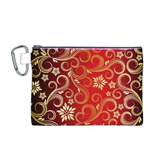 Golden Swirls Floral Pattern Canvas Cosmetic Bag (m)
