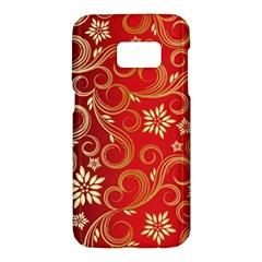 Golden Swirls Floral Pattern Samsung Galaxy S7 Hardshell Case