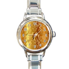 Golden Pattern Vintage Gradient Vector Round Italian Charm Watch